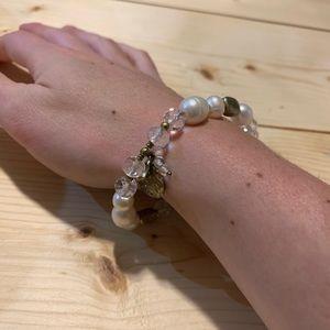 Silpada pearl and brass stretch bracelet